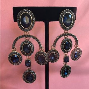Oscar de la Renta Navy Chandelier Earrings